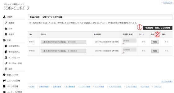 JOB-CUBE2の契約内容(新卒)の管理の編集